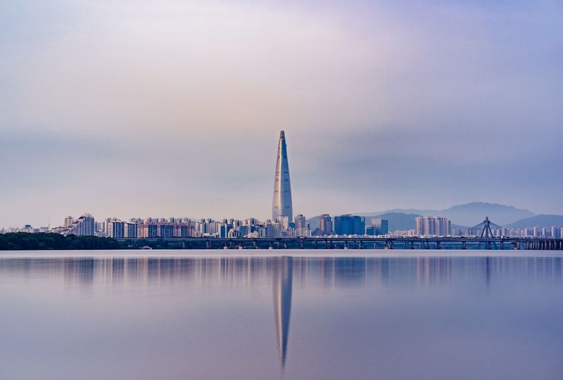 City skyline reflected in Han River
