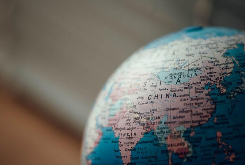 Globe map focused on China