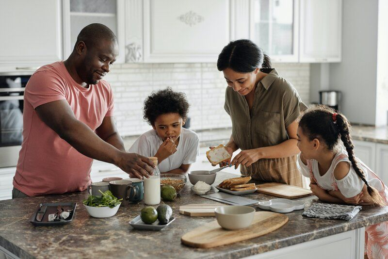 family cooking food together