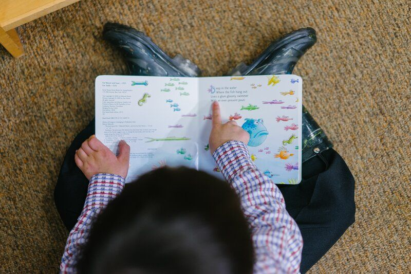 child reading an English book