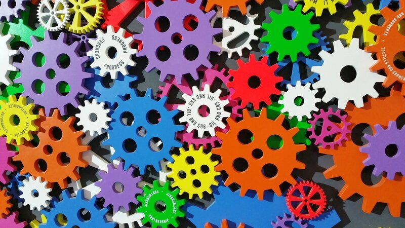 a picture of colorful gears